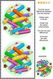 Den visuella gåtan för kulöra blyertspennor - finna skillnaderna royaltyfri illustrationer