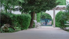 Den vita bänken i en sommar parkerar omgivet av gröna buskar och växter royaltyfria foton