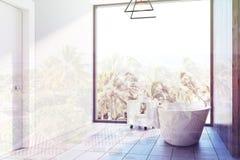 Den vita badruminre, badar tonat Arkivbilder