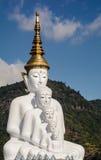 5 den vita Buddhastatyn arkivfoton