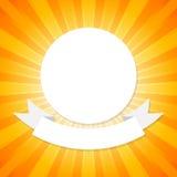 Den vita cirkel- och bandmallen på apelsinabstrakt begreppbakgrund med start brast begrepp Arkivfoton