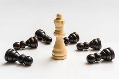 Den vita drottningen och många stupat pantsätter - schackbegrepp Royaltyfri Foto