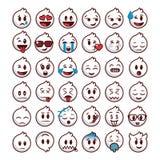 Den vita emojiuppsättningen med linjer kantar vektor illustrationer