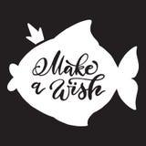 Den vita fisken med kronan och calligraphic gör en önskainskrift på svart bakgrund Royaltyfri Bild