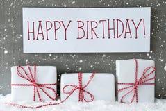 Den vita gåvan med snöflingor, smsar lycklig födelsedag Royaltyfria Foton