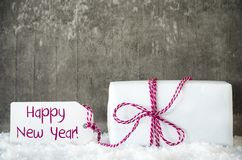 Den vita gåvan, snö, etikett, smsar lyckligt nytt år Royaltyfria Foton