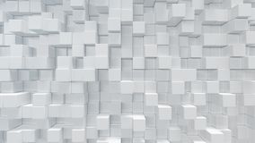 Den vita geometriska kuben som är kubik, askar, fyrkanter bildar abstrakt bakgrund abstrakt begrepp blockerar white Mallbakgrund  royaltyfri bild