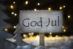 Den vita julgranen, guden Juli betyder glad jul Royaltyfria Foton