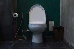 Den vita keramiska bunken för den släta toaletten i badrum med den sanitära påsen för toalettpapper, den vård- vattenkranen för b royaltyfri fotografi