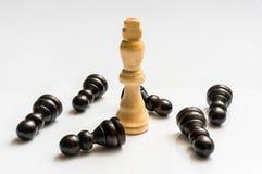 Den vita konungen och många stupat pantsätter - schackbegrepp Royaltyfri Foto