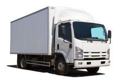Den vita lastbilen isoleras det Royaltyfri Fotografi