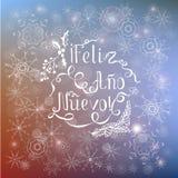 Den vita märka Feliz ao nuevoen, betyder lyckligt nytt år i spanskt språk på blå bakgrund för suddighet royaltyfri illustrationer