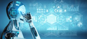 Den vita manliga cyborgen som använder digitala data, har kontakt tolkningen 3D royaltyfri illustrationer