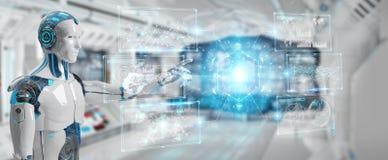 Den vita manliga cyborgen som använder digitala data, har kontakt tolkningen 3D vektor illustrationer