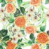 Den vita orkidéblomman på en filial, apelsinrosen, vattenfärgen, bukett, mönstrar sömlöst Royaltyfri Foto