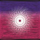 Den vita piruetten på blått- och rosa färgremsa svärtar bakgrund Royaltyfria Bilder