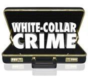 Den vita portföljen för ord för kragebrottet 3d förskingrar bedrägeristöld Arkivbild