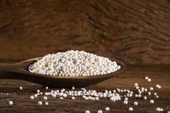 Den vita sagot pryder med pärlor in i en wood sked Arkivfoton