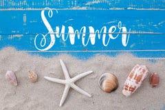 Den vita sandstjärnafisken och skal med sommar smsar på blått trä Fotografering för Bildbyråer