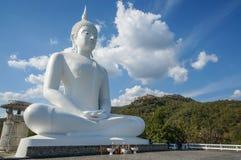 Den vita stora Buddhastatyn på bakgrund för blå himmel Arkivbild