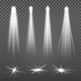 Den vita strålen tänder strålkastarevektorn Isolerade glödande ljusa effekter på genomskinlig bakgrund Uppsättning av att tända f vektor illustrationer