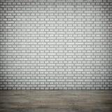 Den vita tegelstenväggen arkivfoto