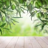 Den vita tomma trätabellen, gröna oliv bär frukt och sidor Arkivbilder