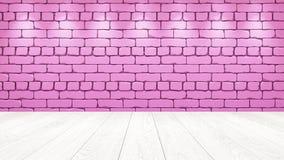 Den vita trätabellöverkanten i bakgrunden är en rosa gammal tegelsten Strålkastareeffekt på väggen - kan användas för skärm eller vektor illustrationer