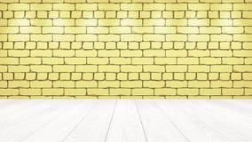 Den vita trätabellöverkanten i bakgrunden är ett ljust - gul gammal tegelsten Strålkastareeffekt på väggen - kan användas för skä vektor illustrationer