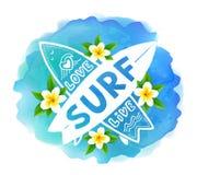 Den vita vektorkorsningen surfingbrädor med handen dragen teckenförälskelse, levande, BRÄNNING på blå vattenfärg och bali blommar royaltyfri illustrationer