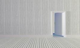 Den vita wood dörren som är öppen till rum med träväggen background-3d royaltyfri fotografi