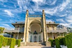 Den Vorontsov slotten i Alupka, Krim arkivfoton