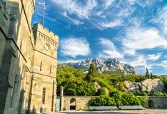 Den Vorontsov slotten i Alupka, Krim royaltyfria foton