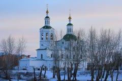 Den Voznesensko-Georgievsky kyrkan i den Tyumen staden, ryss Sibirien Royaltyfria Foton