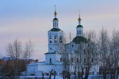Den Voznesensko-Georgievsky kyrkan i den Tyumen staden, ryss Sibirien Fotografering för Bildbyråer