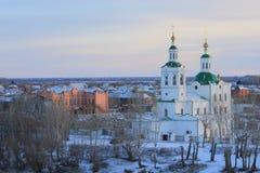 Den Voznesensko-Georgievsky kyrkan i den Tyumen staden, ryss Sibirien Arkivbilder