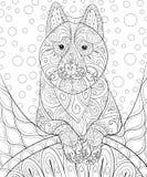 Den vuxna färgläggningboken, söker en gullig hund på den abstrakta bakgrunden för att koppla av Illustration för Zenkonststil Arkivbilder