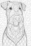 Den vuxna färgläggningboken, söker en gullig hund på den abstrakta bakgrunden för att koppla av Illustration för Zenkonststil Royaltyfria Foton