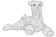 Den vuxna färgläggningboken, söker en gullig isolerad hund för att koppla av Illustration för Zenkonststil Royaltyfri Foto