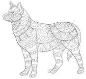 Den vuxna färgläggningboken, söker en gullig isolerad hund för att koppla av Illustration för Zenkonststil Fotografering för Bildbyråer