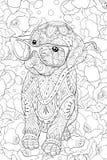 Den vuxna färgläggningboken, söker en gullig liten hund med exponeringsglas för att koppla av Illustration för Zenkonststil Arkivbild