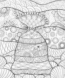 Den vuxna färgläggningboken, söker en gullig påse på den blom- bakgrunden för att koppla av Illustration för Zenkonststil Royaltyfria Bilder