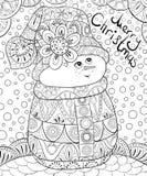 Den vuxna färgläggningboken, söker en gullig snögubbe på den abstrakta bakgrunden med bokstäver för att koppla av Illustration fö Arkivbild