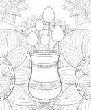 Den vuxna färgläggningboken, söker en gullig vas med ägg avbildar för att koppla av royaltyfri illustrationer