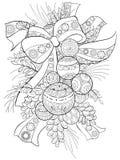Den vuxna färgläggningboken, söker en julbakgrund med garneringbollar för att koppla av Zentangle Arkivbild