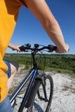 In den Wald, von der Radfahrerperspektive radfahren Sport und gesundes Leben Extremer Sport Bergbic Lizenzfreies Stockfoto