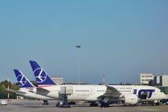 Den WarszawaChopin flygplatsen (WAW) Arkivfoton
