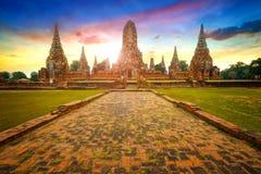 Den Wat Chaiwatthanaram templet i historiska Ayuthaya parkerar, en UNESCOvärldsarv Royaltyfri Bild