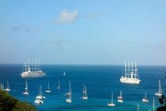 Den windstar och klubbameden 11 besöka bequia i de lovart- öarna Royaltyfria Bilder
