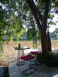 Den Wood tabellen och stolar med den röda kudden under träd skuggar på solig dag i fridsam härlig trädgård vid floden på restaura Royaltyfria Foton
